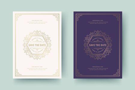 Wedding invitation save the date card golden flourishes ornaments vignette swirls vector template.