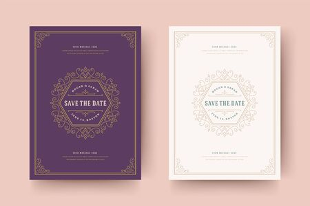 Wedding invitation save the date card flourishes ornaments vignette swirls vector template.