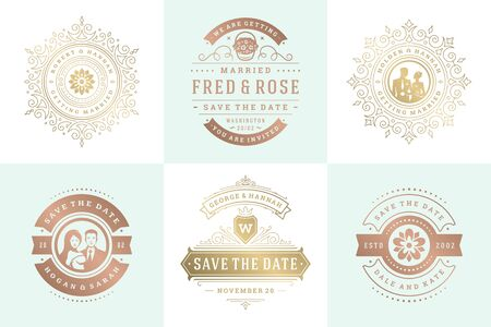 Wedding invitations save the date logos and badges vector elegant elements set