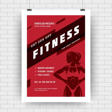 Fitness center flyer modern typographic layout, event cover design template A4 size with woman silhouette. Vector Illustration.