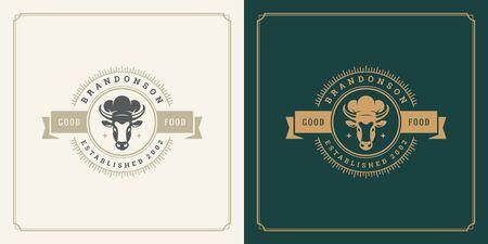 Restaurant logo template vector illustration cow head in chef hat silhouette Çizim