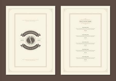 Coffee menu design template flyer for cafe with coffee shop bean symbol and vintage typographic decoration elements. Stock Illustratie