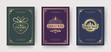 Christmas greeting cards vintage typographic design, ornate decorations symbols with tree, winter holidays wishes, floral ornaments and flourish frames. Vector illustration.