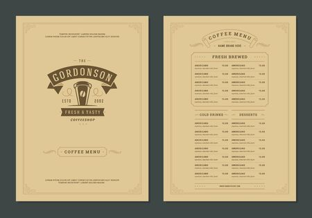 Coffee menu design template flyer for bar or cafe with offee shop logo cup symbol vector Illustration.