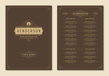 Menu design template with cover and restaurant vintage logo vector brochure.