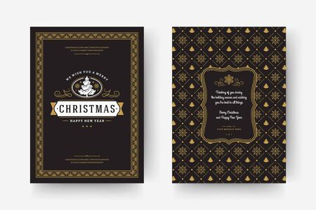 Christmas greeting card vintage typographic design, ornate decorations symbols with tree, winter holidays wish, ornaments and frame. Vector illustration.