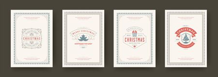 Christmas cards set vintage typographic design, ornate decorations symbols with winter holidays wishes, floral ornaments and flourish frames. Vector illustration.