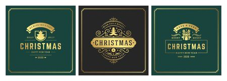 Christmas square banners vintage typographic design, ornate decorations symbols with winter holidays wishes, floral ornaments and flourish frames. Vector illustration.