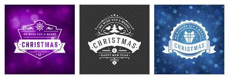 Christmas photo overlays vintage typographic design, ornate decorations symbols with winter holidays wishes, floral ornaments and flourish frames. Vector illustration. Иллюстрация