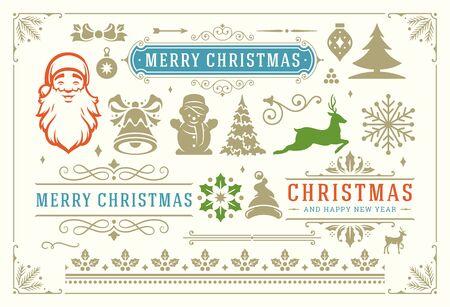 Símbolos de decoración navideña, viñetas ornamentadas e iconos para etiquetas, insignias e ilustración de tarjetas de felicitación Ilustración de vector