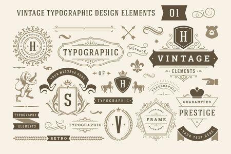Vintage elementy projektu typograficznego zestaw ilustracji. Ilustracje wektorowe