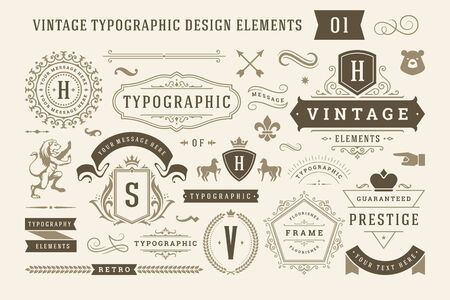 Vintage typographic design elements set illustration. Vector Illustratie