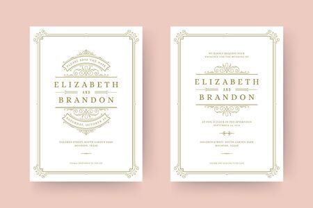 Wedding invitation and save the date cards flourishes ornaments vignette swirls. Vintage Victorian frames and decorations.