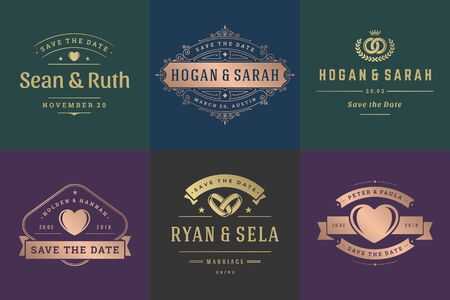 Wedding invitations save the date logos and badges vector elegant templates set. Vintage typography design elements for cards, ornate titles, ornament decorations and wedding symbols.