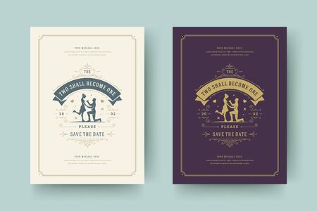Wedding save the date invitation cards flourishes ornaments. Wedding invite title design. Vintage victorian ornate frames and decorations. Vector elegant template.