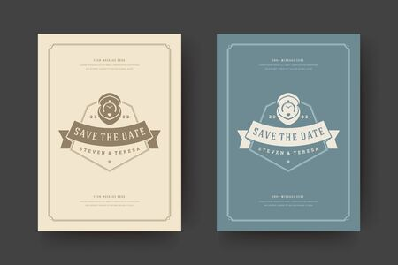 Wedding save the date invitation card illustration. Wedding invite title with decoration vintage design.