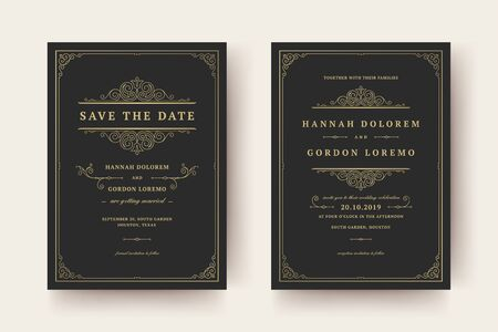 Wedding invitation and save the date cards flourishes ornaments vignette swirls. Vintage victorian frames and decorations. Ilustrace