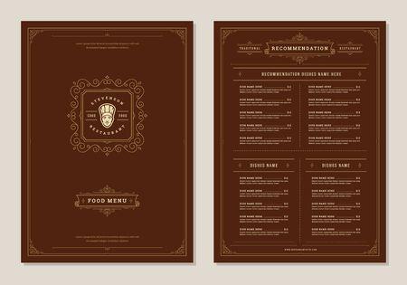 Conception de menus de restaurant et modèle de brochure d'étiquettes.