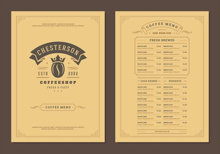Coffee menu design brochure template Illustration