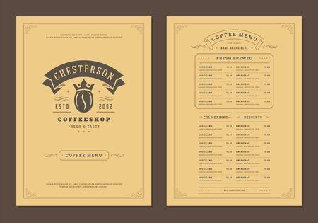Szablon broszury projektu menu kawy ilustracja