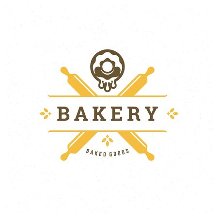 Bakery badge or label retro illustration rolling pins and donuts silhouettes for bake house.