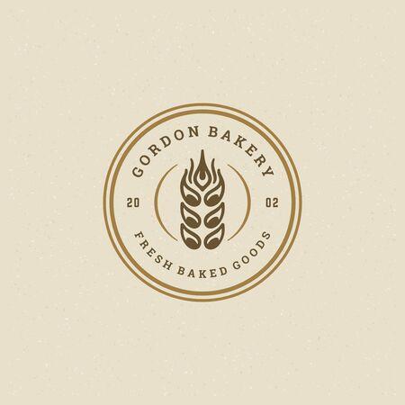 Bakery badge or label retro illustration ear wheat silhouette for bake house.