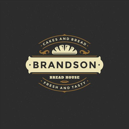 Insigne de boulangerie ou étiquette illustration rétro pain ou silhouette de pain pour boulangerie. Vecteurs