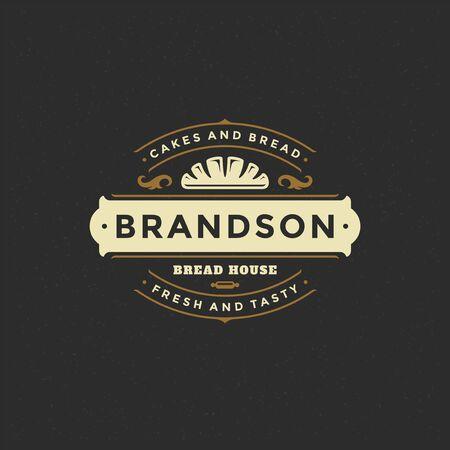 Insignia de panadería o etiqueta retro ilustración pan o silueta de pan para hornear casa. Ilustración de vector