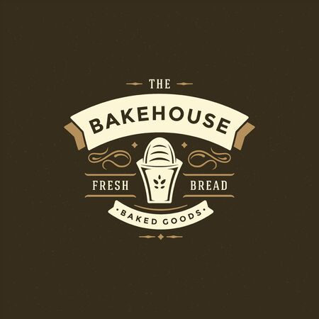 Bakery badge or label retro illustration bread or loaf silhouette for bake house.