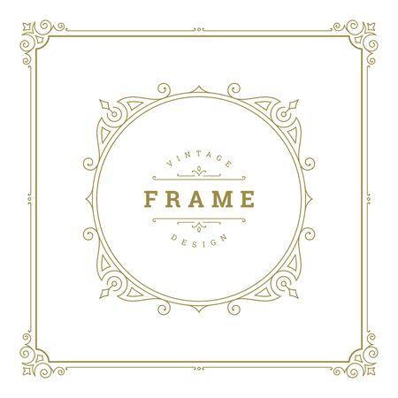 Vintage flourishes ornament swirls lines frame template Vetores