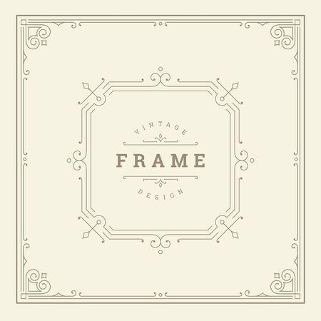 Vintage flourishes ornament swirls lines frame template