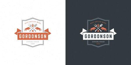 Barbecue logo vector illustration grill steak house or bbq restaurant menu emblem bulls silhouette
