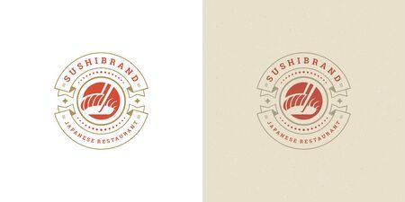 Sushi logo and badge japanese food restaurant with salmon sashimi asian kitchen silhouette vector illustration Logo