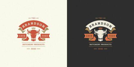 Butcher shop logo vector illustration cow head silhouette good for farm or restaurant badge Ilustrace