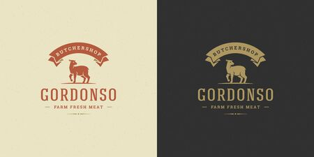 Butcher shop logo vector illustration lamb silhouette good for farm or restaurant badge Stok Fotoğraf - 140670139