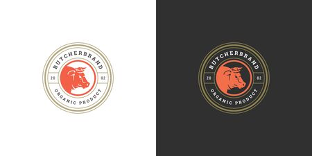 Butcher shop logo vector illustration bull head silhouette good for farm or restaurant badge Ilustrace