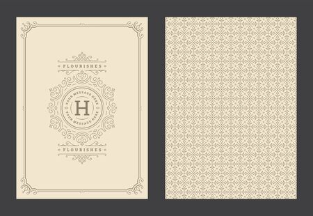 Vintage ornament greeting card calligraphic ornate swirls and vignettes frame design template Ilustração