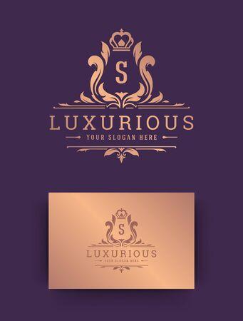 Luxury logo monogram crest template design vector illustration.