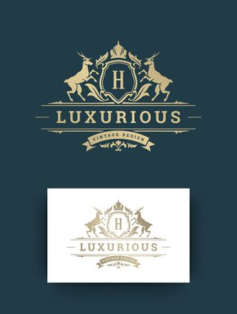 Luxury logo monogram template design vector illustration. Royal monogram crest brand vintage vignette ornaments. Deers silhouettes. Logo