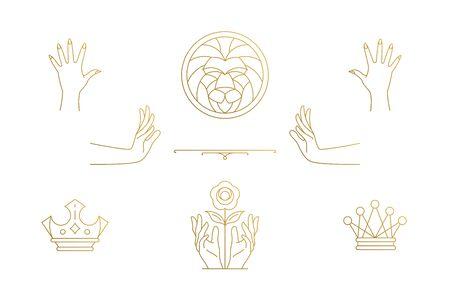 Vector line elegant decoration design elements set - lion head and gesture hands illustrations minimal linear style Vectores
