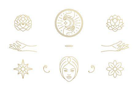 Vector line feminine decoration design elements set - female face and gesture hands illustrations minimal linear style Vectores