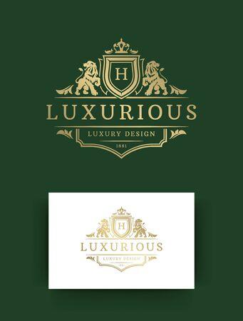 Illustration vectorielle de luxe monogramme modèle design. Ornements de vignette florale vintage de marque de crête de monogramme royal. Lions têtes silhouettes.