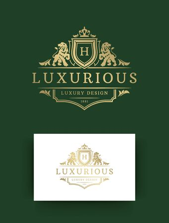 Luxus-Monogramm-Template-Design-Vektor-Illustration. Vintage florale Vignettenverzierungen der königlichen Monogrammwappenmarke. Löwenköpfe Silhouetten.