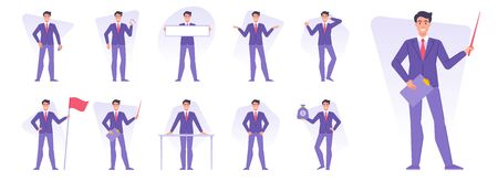 Set of businessmen doing various business activities vector illustrations
