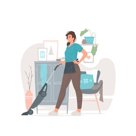 Young housewife cleaning floor in modern apartment