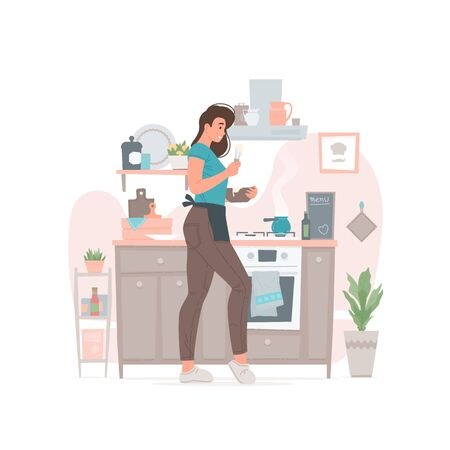 Young female cooking in kitchen at home Ilustração