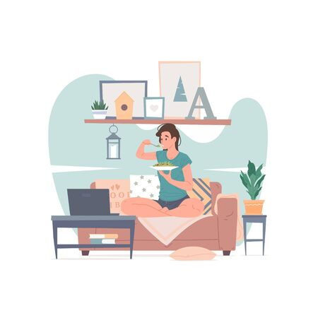 Woman having dinner and watching movie at home vector illustration. Vector Illustratie