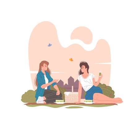 Female friends having picnic in summer park vector illustration.
