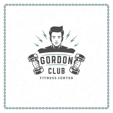 Fitness gym emblem vector illustration man bodybuilder lifting dumbbells silhouette Illustration