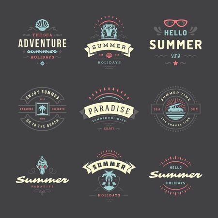 Summer holidays labels and badges retro typography design set.